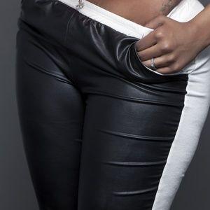 Pants - Ladies Half Leather Half Linen Joggers